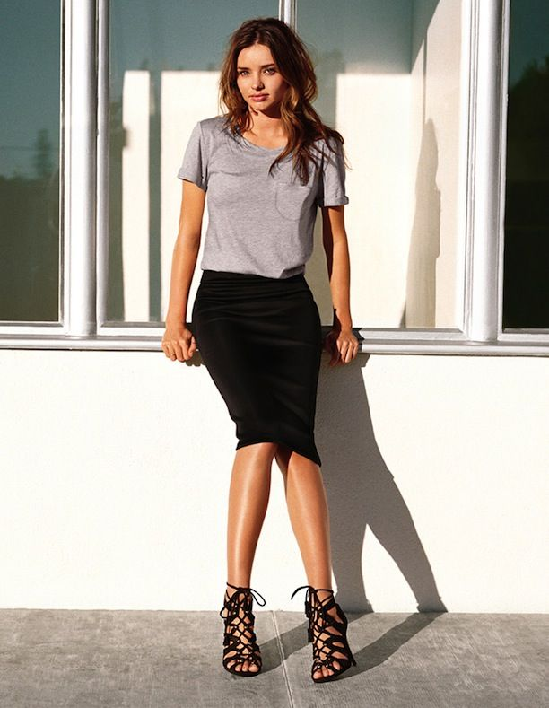 pencil skirt with t-shirt